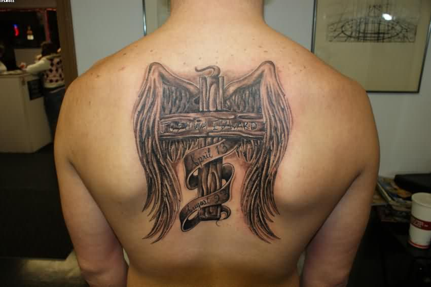 Wooden Cross And Wings Tattoos On Back