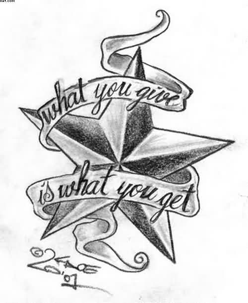 Words Star Tattoo Sketch