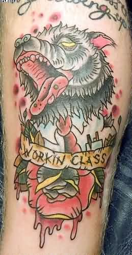 Working Class Funny Wolf Tattoo