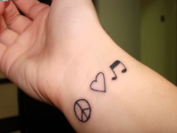 Wrist Tattoos Of Peace Love MusicWrist Tattoos Of Peace Love Music