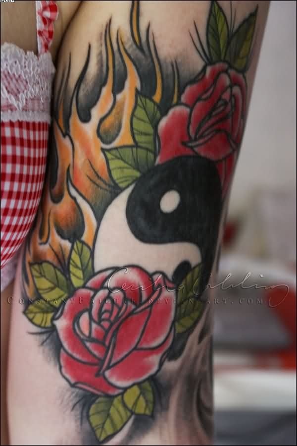 Yin Yang And Roses Tattoos On Arm