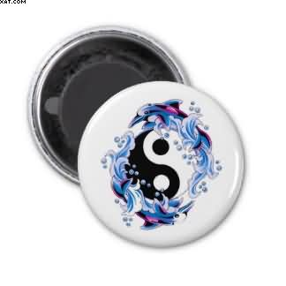 Yin Yang Dolphins Tattoo Magnet