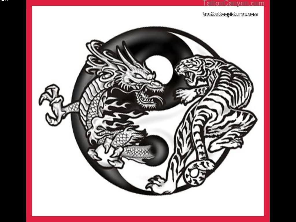 Yin Yang Dragon And Tiger Tattoo Design
