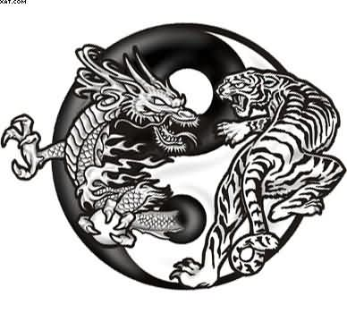 Yin Yang Dragon Tiger Tattoo Design