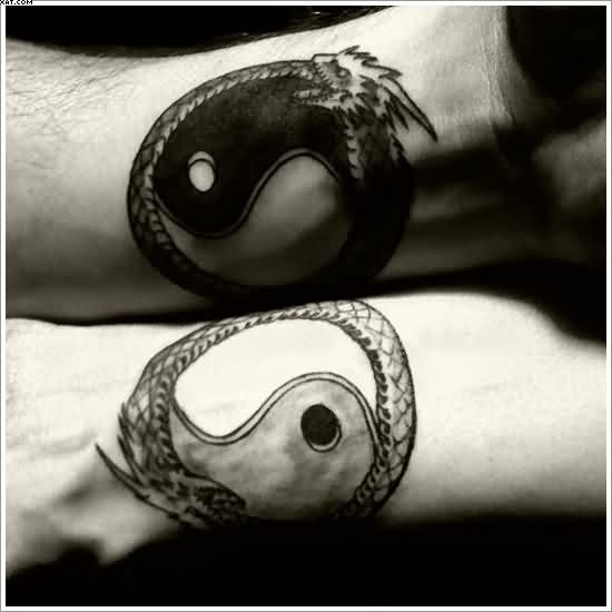 Yin Yang Dragons Tattoos