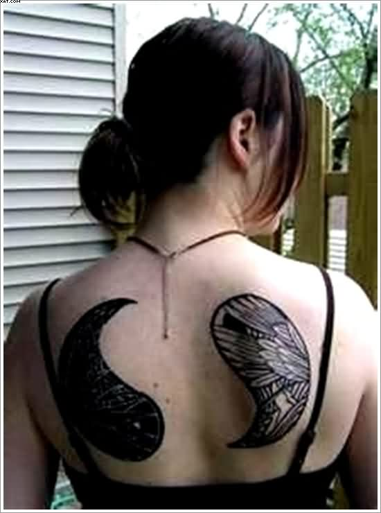 Yin Yang Tattoos On Back For Girls