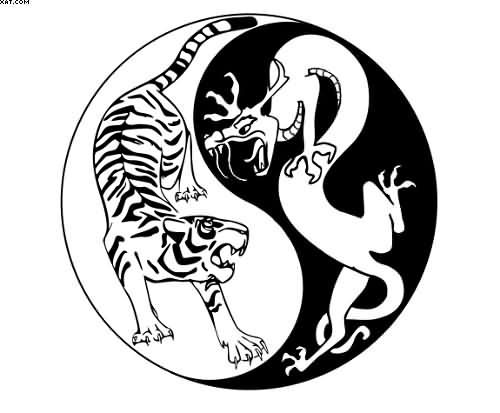Yin Yang Tiger And Dragon Tattoo Design