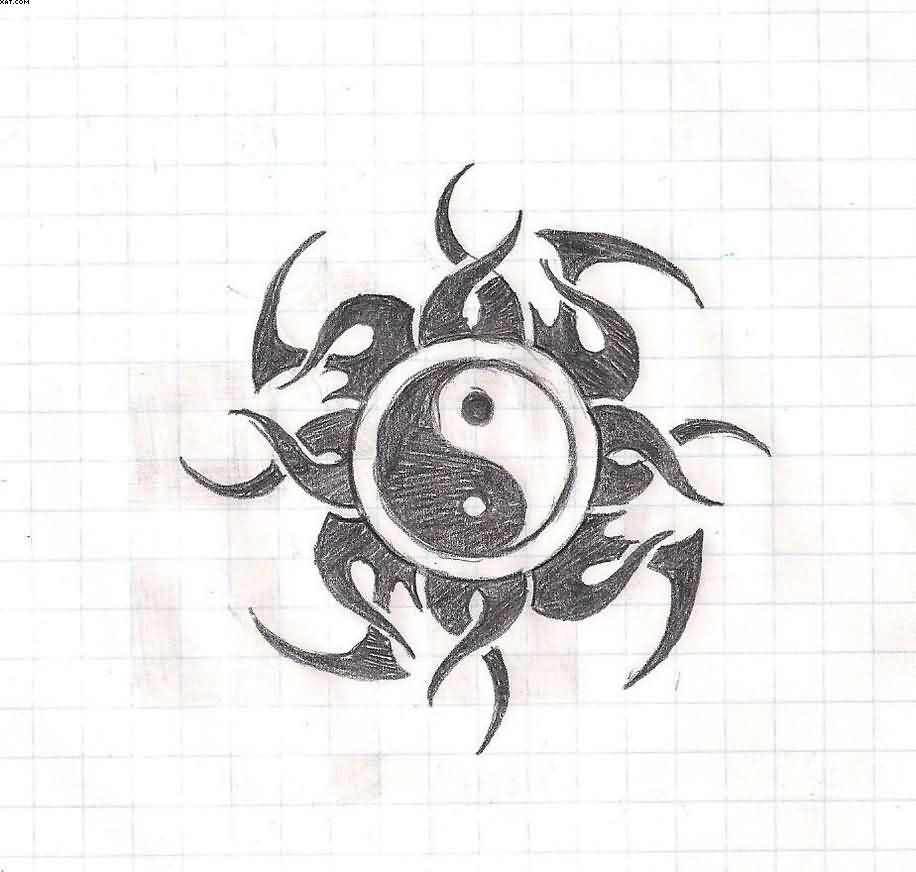 Yin Yang Tribal Tattoo Design
