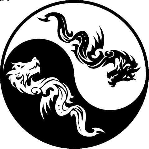 Ying Yang Dragon Tattoo Model