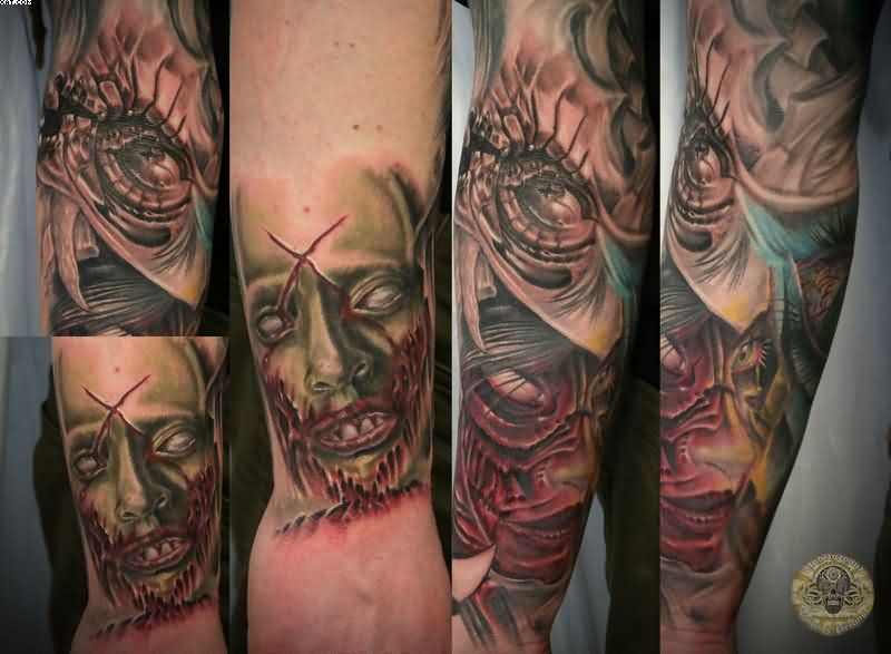 Zombie Bloody Face Eye Tattoos