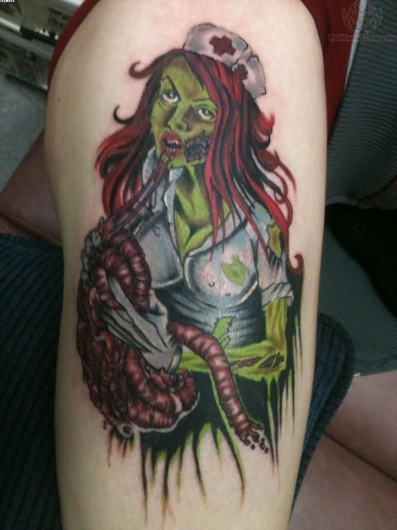 Zombie Color Nurse Tattoo