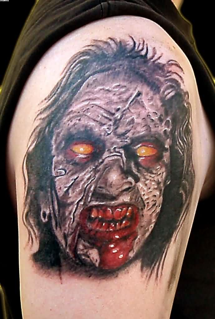 Zombie Face Tattoo On Shoulder