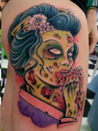 Zombie Geisha Tattoo On Thigh