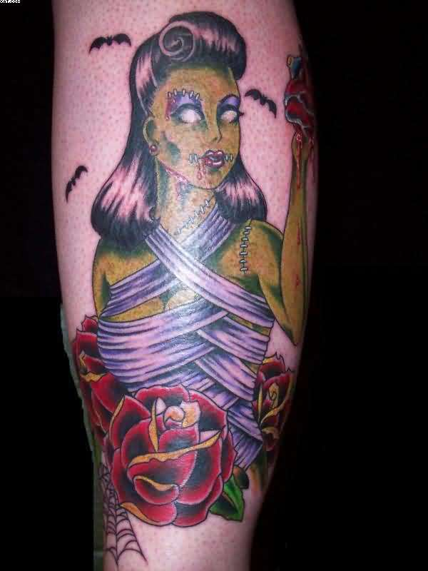 Zombie Girl And Red Roses Tattoos