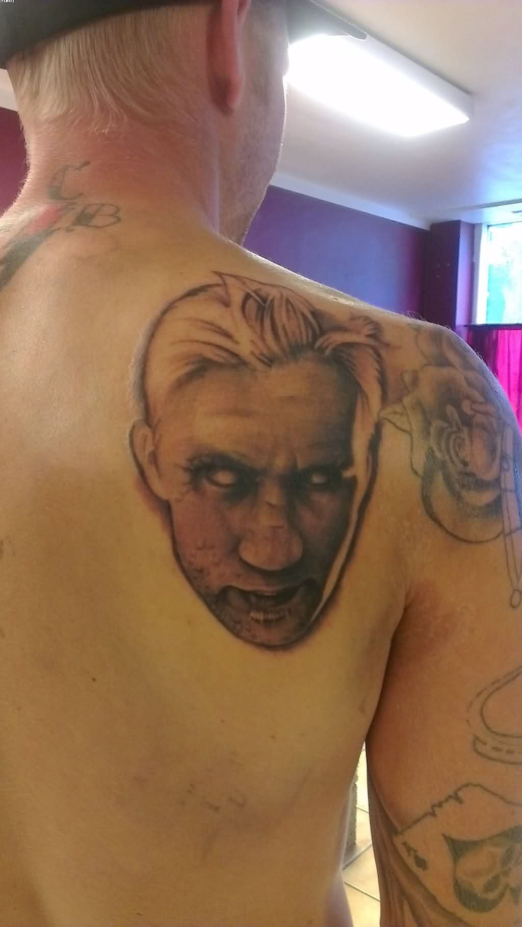 Zombie Head Tattoo On Back Shoulder