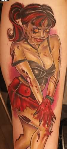 Zombie Hot Girl Tattoo