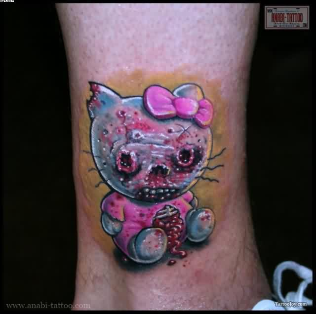 Zombie Kitty Tattoo On Ankle