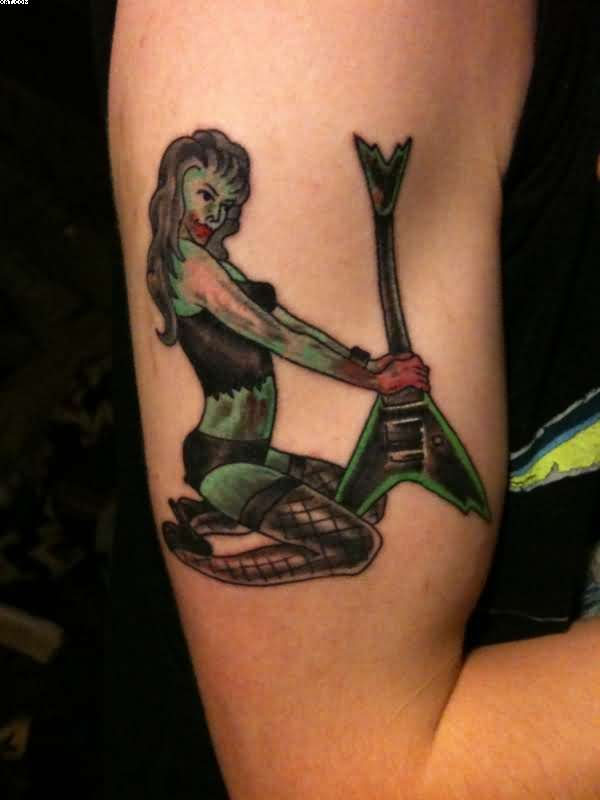 Sexy Zombie Pin Up Tattoo On Biceps
