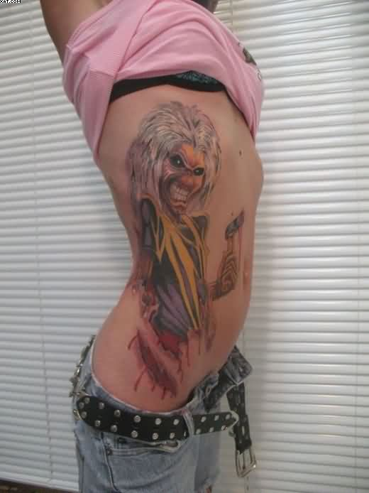 Zombie Tattoo On Girl's Rib Cage