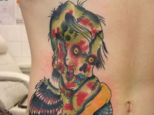 Zombie Tattoo On Rib Side