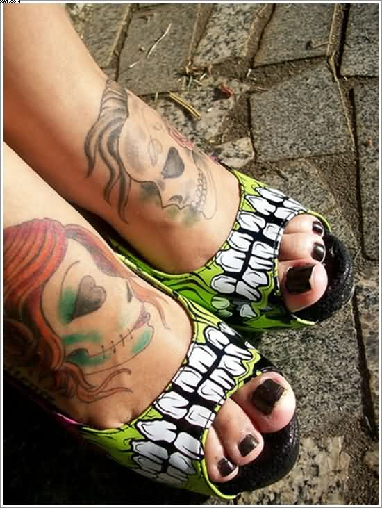 Zombie Tattoos On Feet For Girls