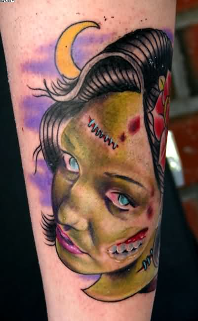 Zombie Woman Head Tattoo