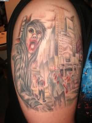Zombies Tattoos On Biceps