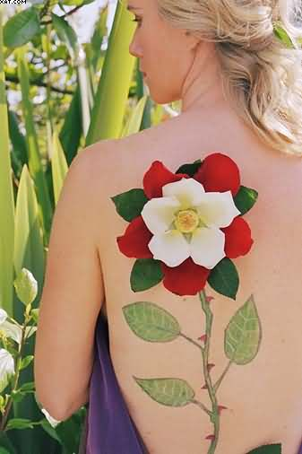 3D Flower Vine Tattoo On Back Shoulder