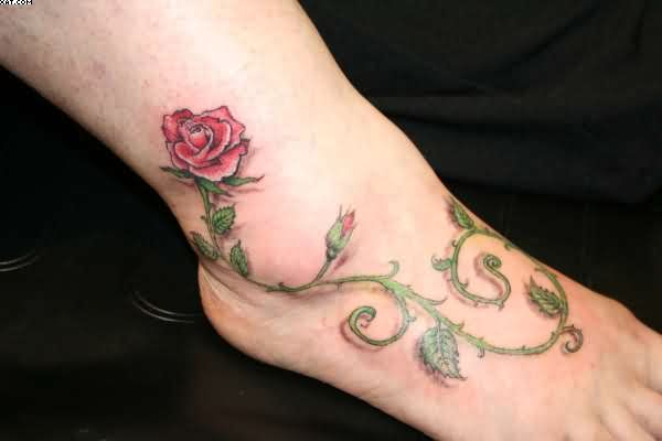3D Rose Vine Tattoo For Foot