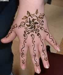 A Very Beautiful Henna Vine Tattoo For Hand