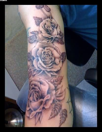 Amazing Roses Vine Tattoos On Arm