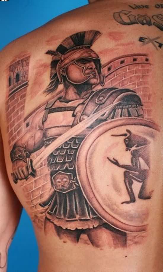 Amazing Warrior Tattoo On Back Shoulder