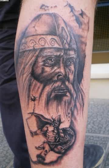 Amazing Warrior Tattoos On Right Leg