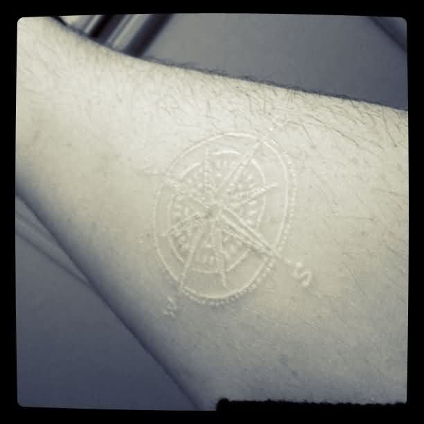 Amazing White Ink Compass Tattoo