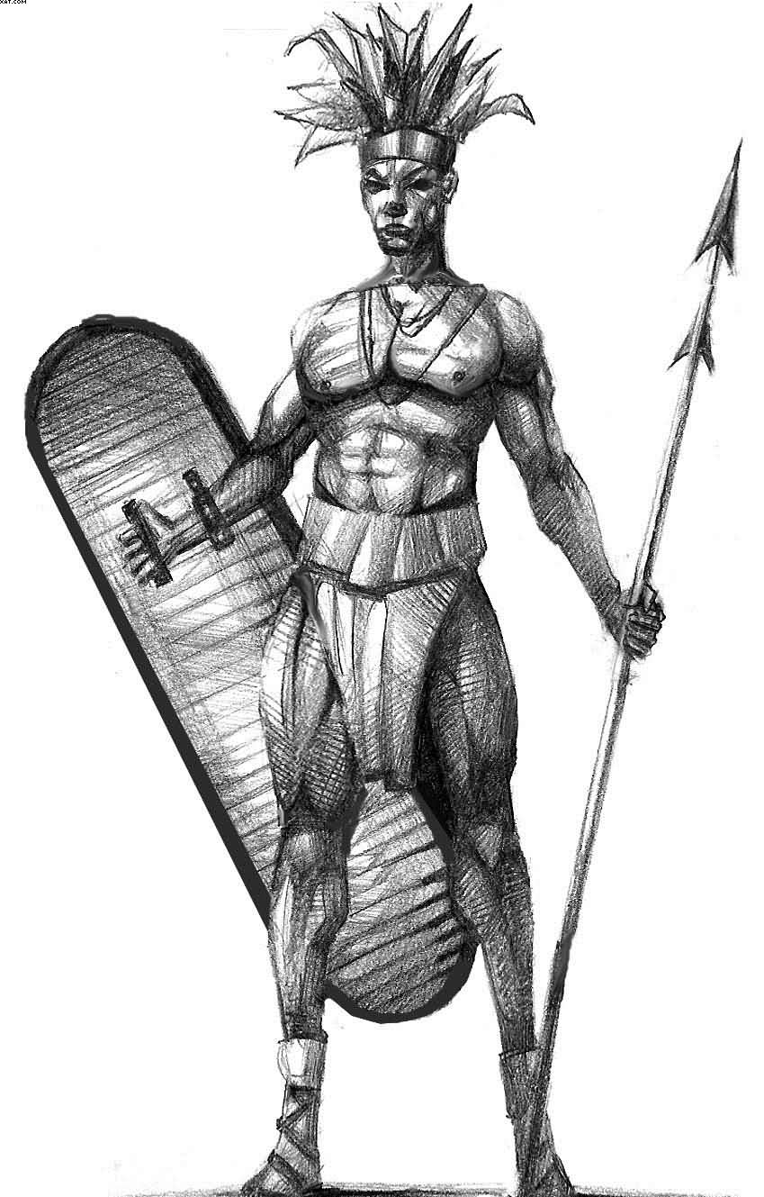 Ancient African Warrior Tattoo Drawing