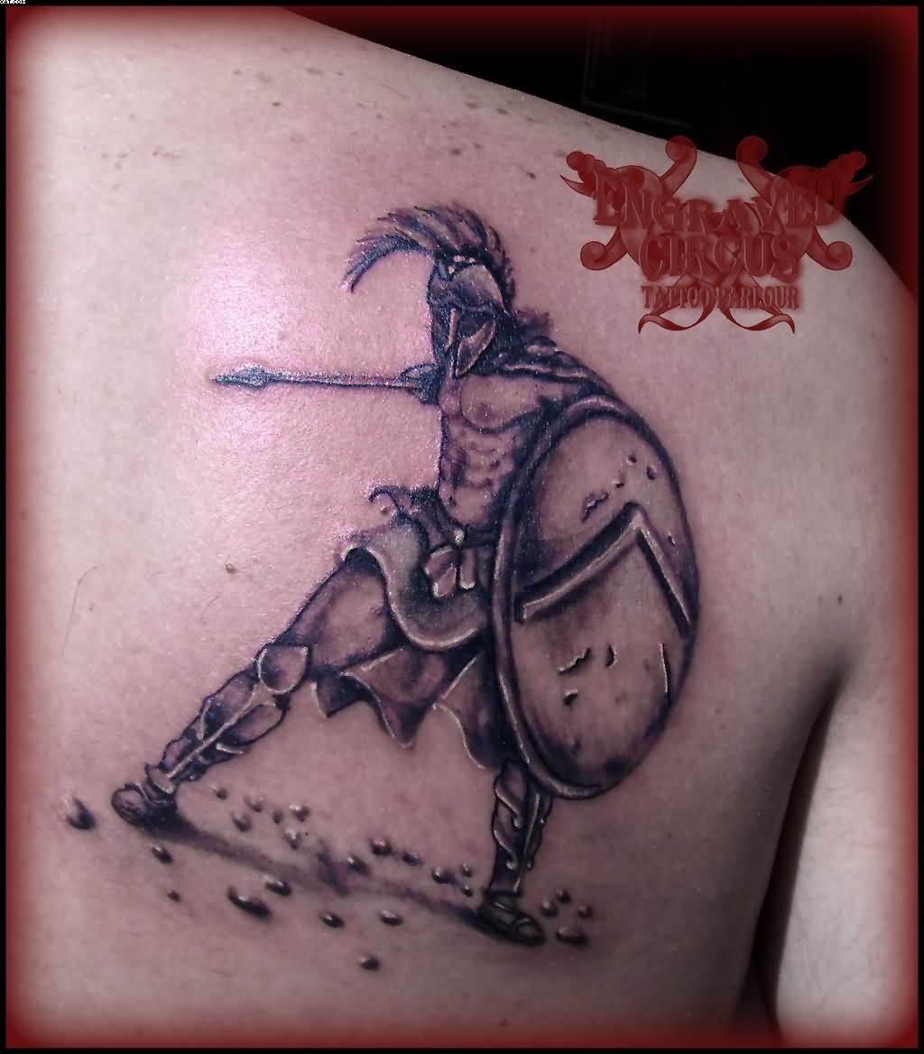 Ancient Greek Spartan Warrior Tattoo On Back Shoulder