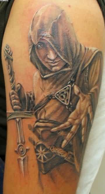 Ancient Roman Warrior Tattoo For Biceps
