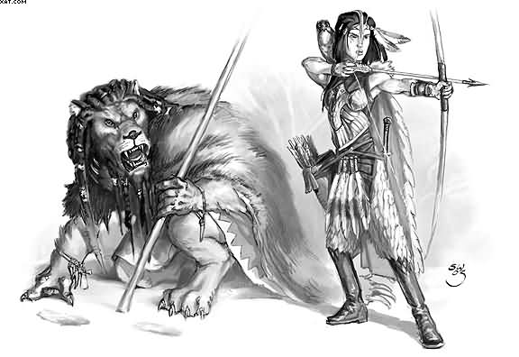Ancient Warrior And Lion Tattoo Designs