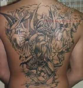Ancient Warrior Back Piece Tattoo