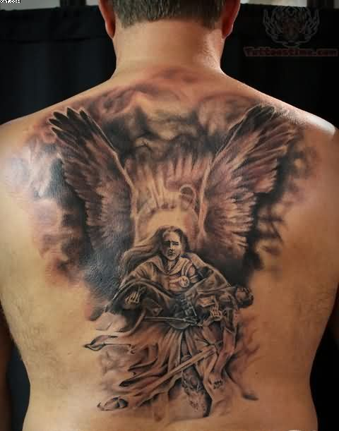 Angel And Warrior Tattoos On Back