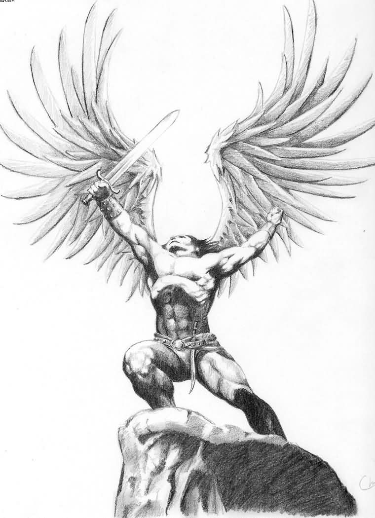 Angel Warrior Tattoo Sketch