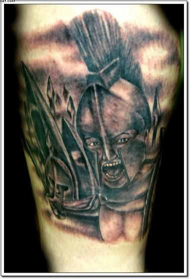 Angry Greek Warrior Tattoo