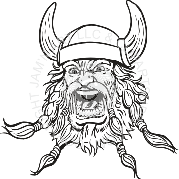 Angry Viking Head Without Color Tattoo Design