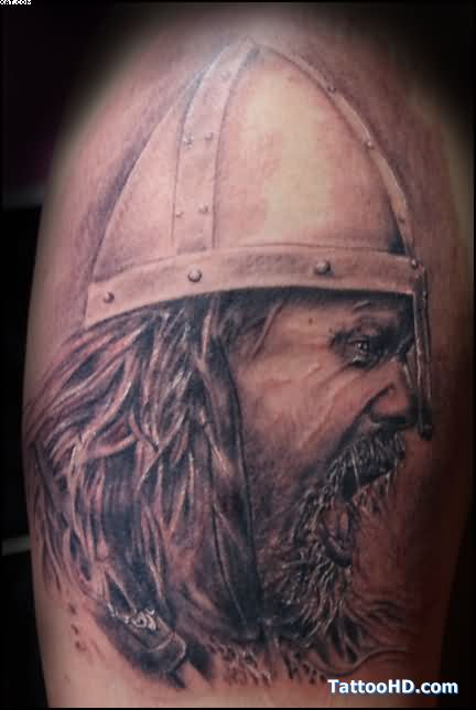 Angry Viking Warrior With Helmet Tattoo