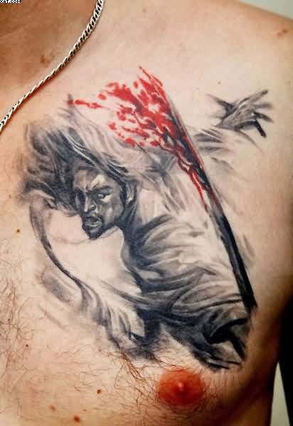 Artistic Warrior Tattoo For Chest
