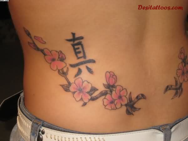 Asian Cherry Blossom Waist Tattoo