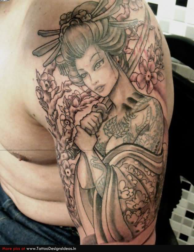 Asian Warrior Girl Grey Ink Tattoo For Arm