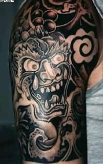 Asian Warrior Half Sleeve Tattoos