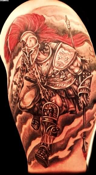 Attractive Half Sleeve Spartan Warrior Tattoo