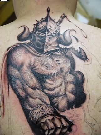 Awesome Aztec Warrior Tattoo On Back